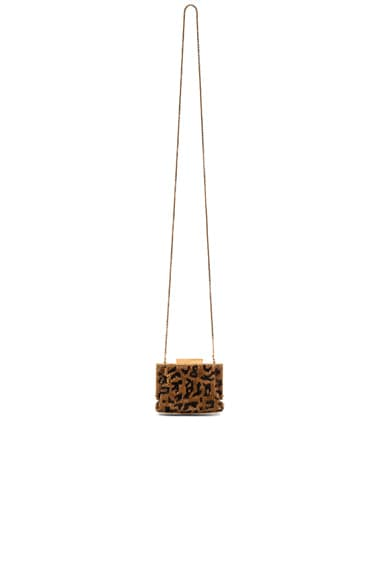 Saint Laurent Small Sequin Leopard Bijoux Purse in Natural & Black
