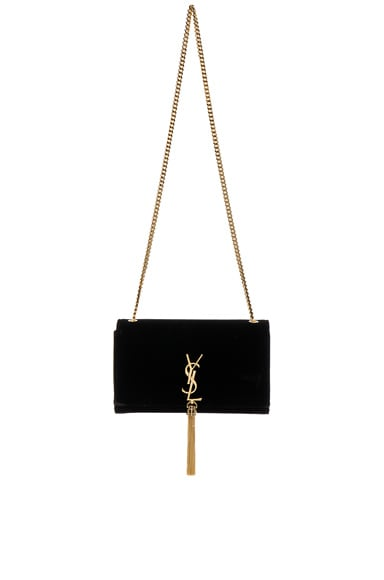 Saint Laurent Velvet Monogram Chain Bag in Black