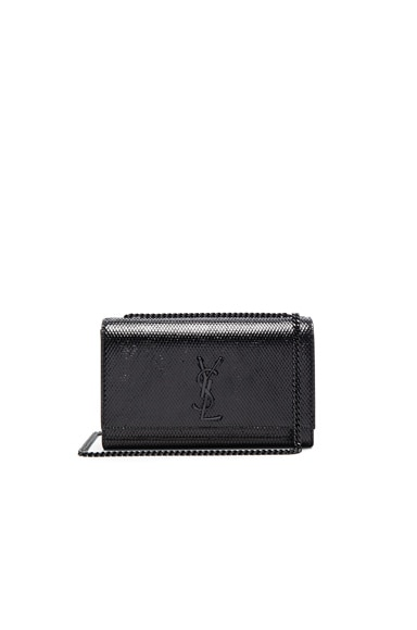 Saint Laurent Medium Embossed Python Monogram Chain Bag in Black