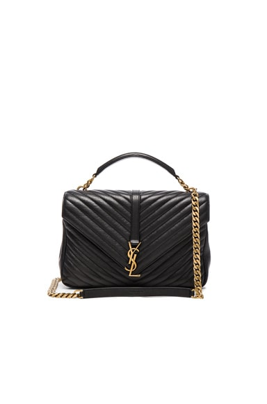 Saint Laurent Large Monogram College Bag in Black