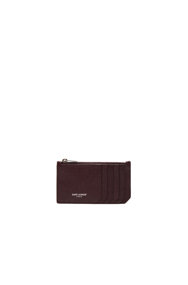 Saint Laurent Zipped Fragments Credit Card Case in Bordeaux