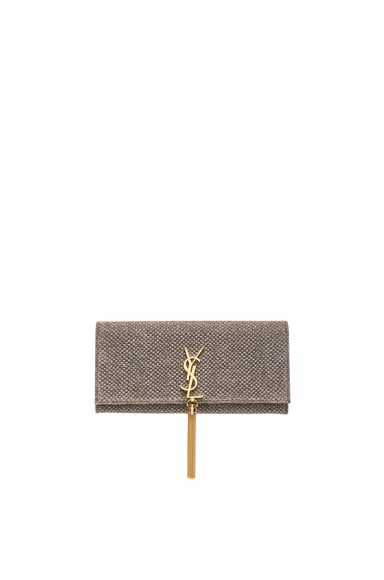Saint Laurent Monogram Tassel Kate Clutch in Ciad & Argento