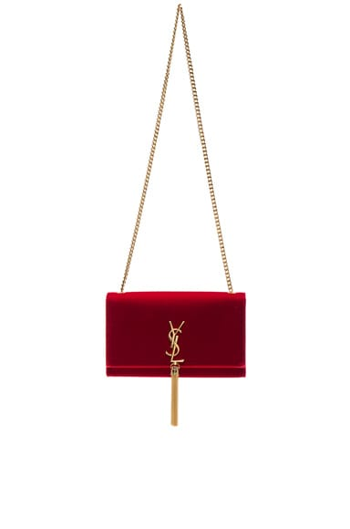Saint Laurent Velvet Monogram Chain Bag in Red