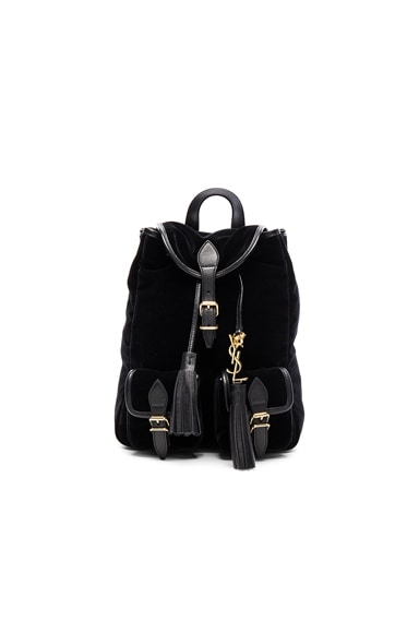 Saint Laurent Velvet Festival Backpack in Black