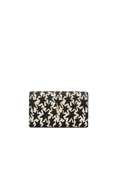 Saint Laurent Lurex Monogramme Chain Wallet in Black & Gold
