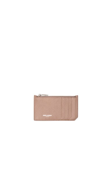 Saint Laurent Zipped Fragments Credit Card Case in Fard