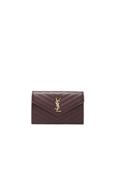 Saint Laurent Quilted Monogram Chain Wallet in Bordeaux