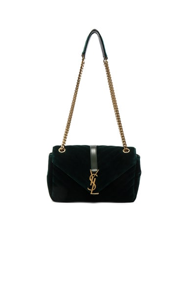 Saint Laurent Medium Velvet Chain Bag in New Vert Fonce