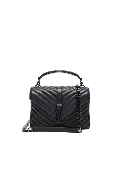 Saint Laurent Medium Monogram College Bag in Black/Black