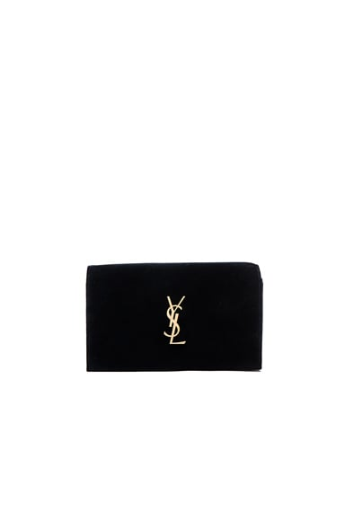 Saint Laurent Velvet Monogram Chain Wallet in Legion Blue