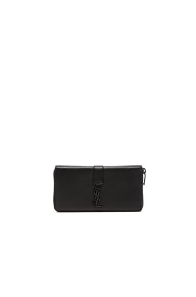 Saint Laurent YSL Zip Around Wallet/Black in Black