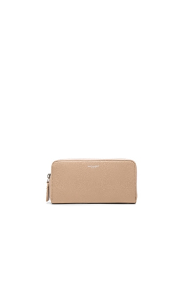 Saint Laurent St Germain Large Wallet in Dark Beige