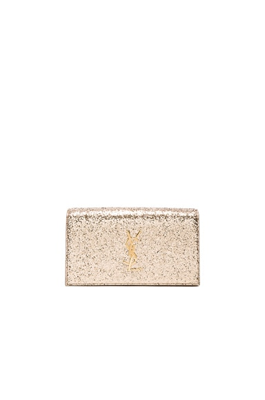 Saint Laurent Monogram Glitter Kate Clutch in Pale Gold