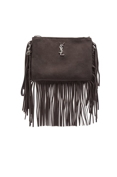 Saint Laurent Monogram Fringe Pouch in Coal