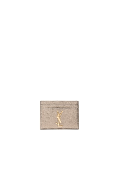 Saint Laurent Metallic Monogram Credit Card Case in Grey Metal