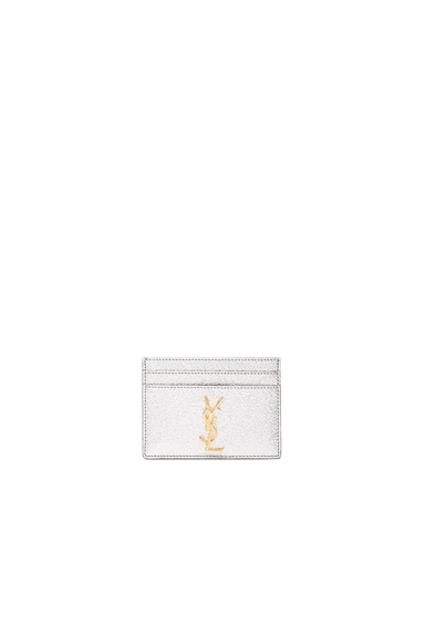 Saint Laurent Metallic Monogram Credit Card Case in Platinum