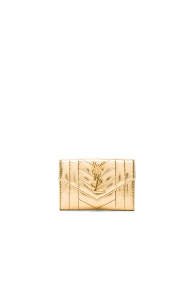 Saint Laurent Small Monogram Quilted Wallet in Gold