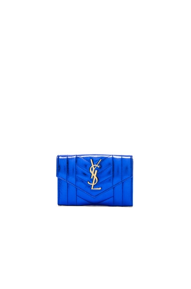 Saint Laurent Small Monogram Quilted Wallet in Blue Azur & Black