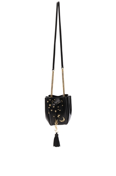 Saint Laurent Small Monogram Embroidered Bourse Bag in Black