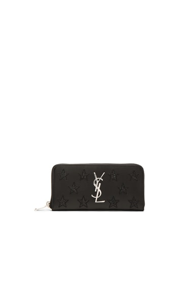 Saint Laurent California Monogram Zip Around Wallet in Black