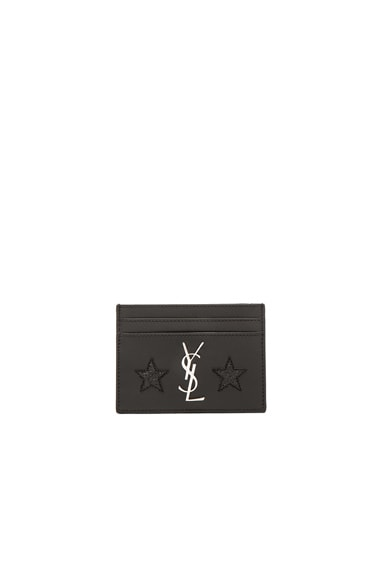 Saint Laurent California Monogram Credit Card Case in Black