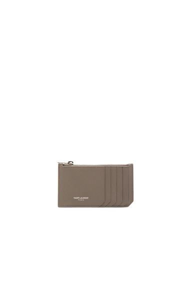 Saint Laurent Zipped Fragments Credit Card Case in Fog