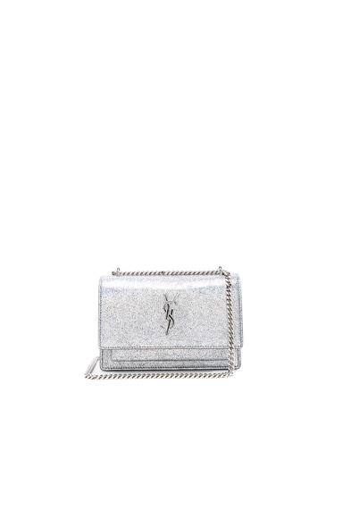 Saint Laurent Sunset Chain Wallet in Star Light & Black