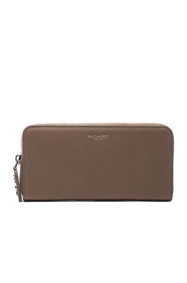 Saint Laurent Zip Around Wallet in Taupe
