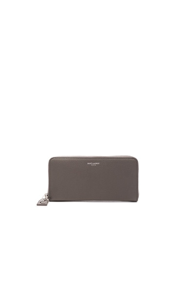 Saint Laurent Zip Around Wallet in Fog