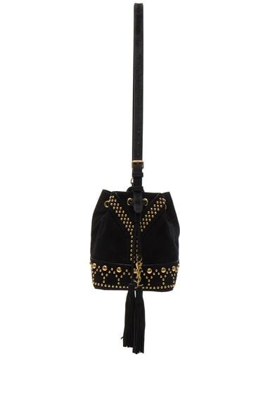 Saint Laurent Y Studs Small Bucket Bag in Black
