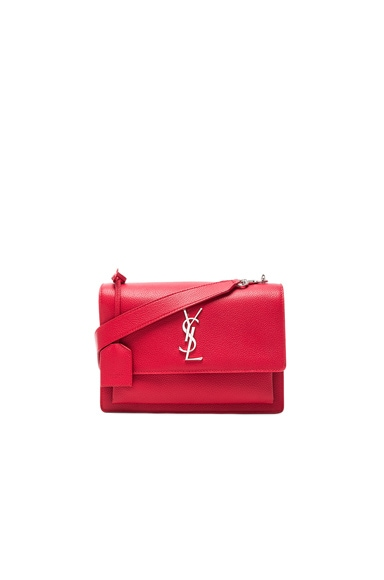 Saint Laurent Sunset Medium Monogramme Chain Bag in New Red