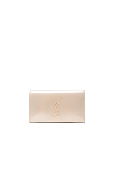 Saint Laurent Kate Monogramme Clutch in Champagne
