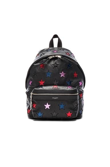Saint Laurent City Mini Star Backpack in Black & Multi Color
