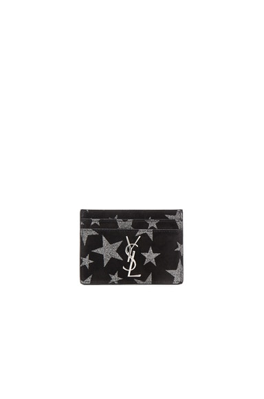 Saint Laurent Monogramme Cardholder in Black & Silver