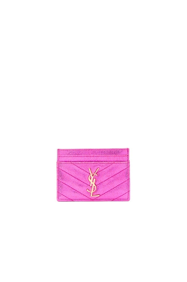 Saint Laurent Monogramme Cardholder in Fuchsia