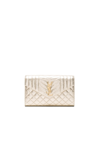 Saint Laurent Monogramme Envelope Chain Wallet in Pale Gold & Black