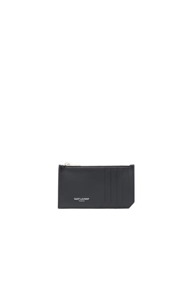 Saint Laurent Zipped Fragments Credit Card Case in Black & Black