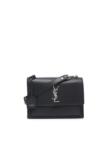 Saint Laurent Medium Monogramme Sunset Satchel & Silver in Black