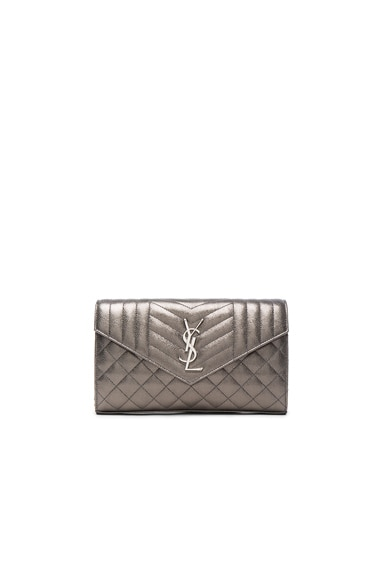 Saint Laurent Monogramme Envelope Chain Wallet in Graphite & Black