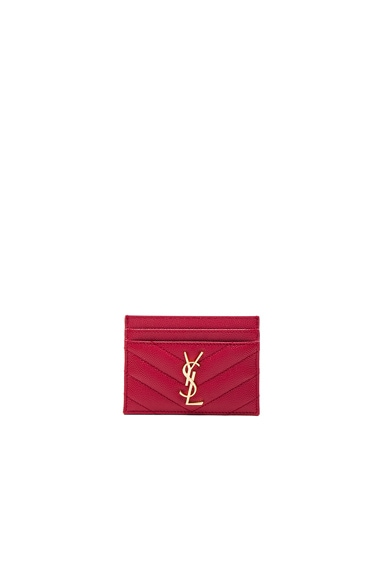 Saint Laurent Monogram Credit Card Case in New Red