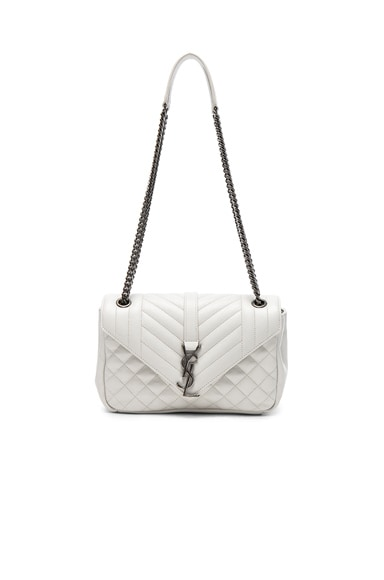 Saint Laurent Medium Envelope Chain Bag in White Chalk