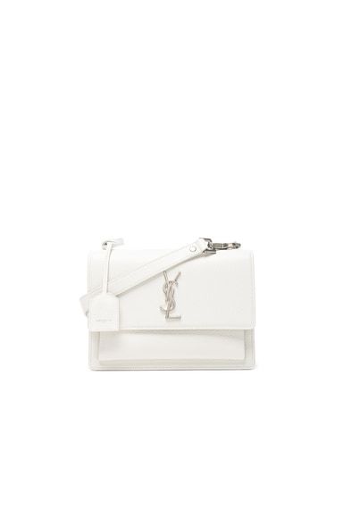 Saint Laurent Medium Monogramme Sunset Satchel in White Chalk