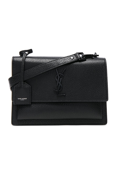 Saint Laurent Medium Monogramme Sunset Satchel in Black & Black