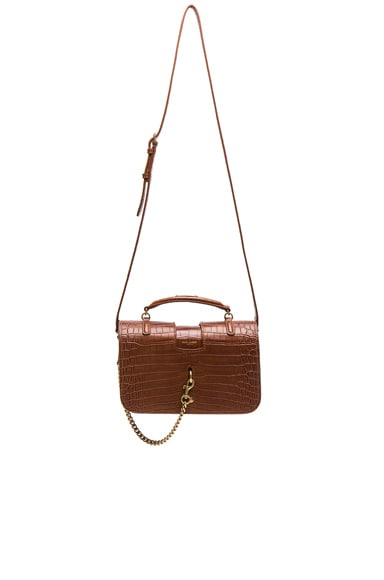 Medium Croc Embossed Charlotte Messenger Bag