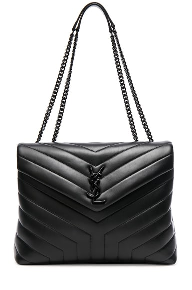 Loulou Monogram Ysl Medium Chain Bag With Black Hardware, Noir