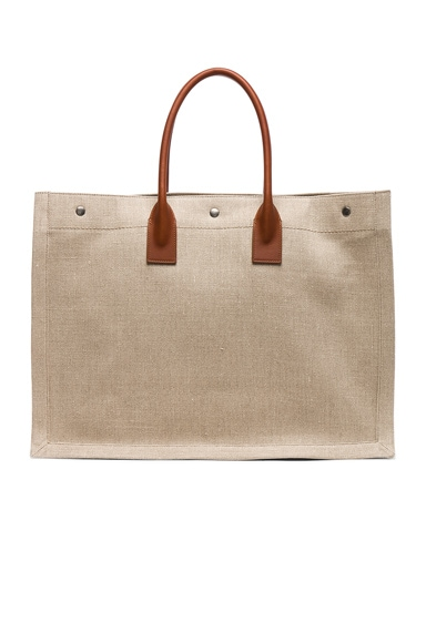 Large Canvas & Leather Rive Gauche Noe Tote