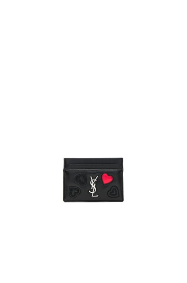 Heart Embroidered Credit Card Case