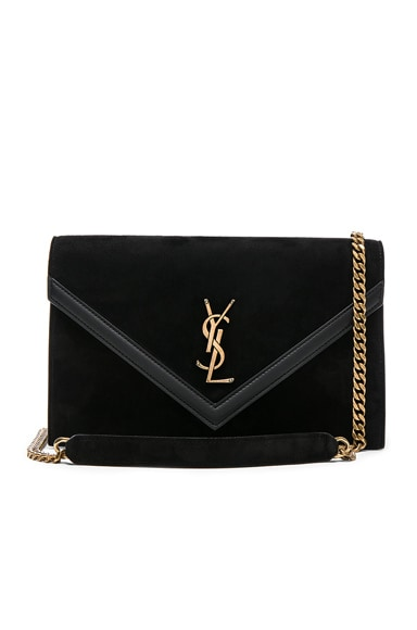 Suede & Leather Monogramme Le Sept Envelope Bag