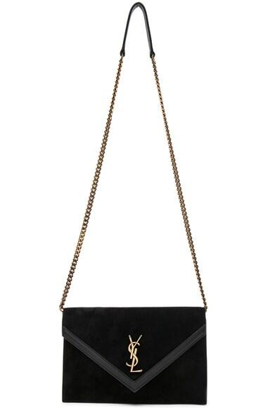 Suede & Leather Monogramme Le Sept Envelope Bag