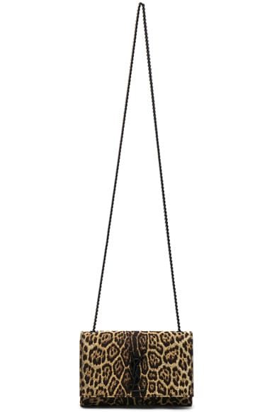 Small Leopard Print Lurex Monogramme Kate Chain Bag
